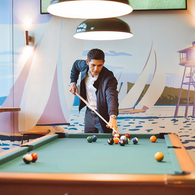 It may be cold outside, but in The Brit we're warming up with a little pool and a big beer